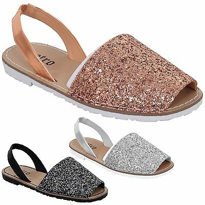 42e019955ac9 Ladies Sling Back Menorcan Peep Toe Glitter Mules Sandals Flat Beach Shoes