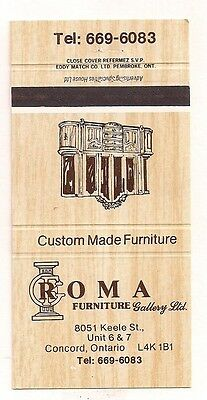 Roma Furniture Gallery Ltd. 8051 Keele St. Unit 6 & 7 Concord ON Matchcover 0217