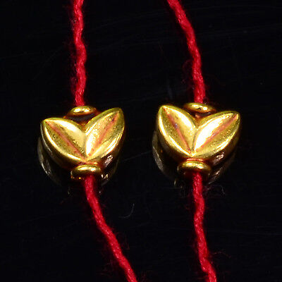 18k Solid Yellow Gold Fancy Leaf Spacer Findings Beads PAIR