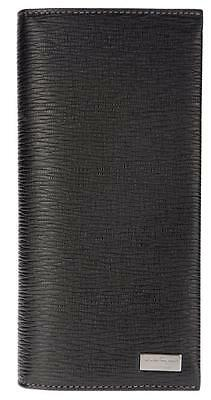 New Salvatore Ferragamo Black Pebbled Leather Long Cc Id Case Bifold Wallet
