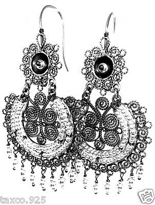 Taxco Mexican 925 Sterling Silver Beaded Bead Filigree Earrings Mexico