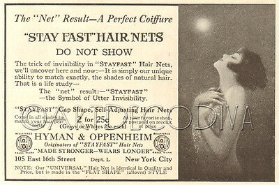 Antique 1919 Stay Fast FLAPPER GIRL Moon Glamour HAIR NET Salon Beauty Style Ad