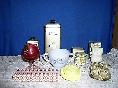 VINTAGE LOT AVON Womens Cologne BOTTLES  Talc  Sugar Bowl Old Items