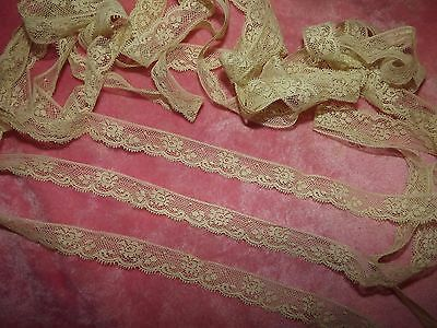 "6 yds ANTIQUE Victorian Valenciennes Net Edging Lace 216"" VINTAGE Cream"