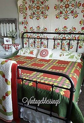 Folky 19th Century Red Green Yellow Antique Applique QUILT Floral Basket Border