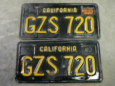 1963 Calif. Lic Plate Pair Ca 63  above average used condition