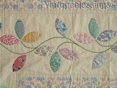 A Feedsack Fantasy! Vintage 30s Applique Autumn Leaves QUILT Never Used