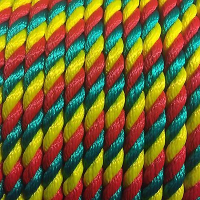 3 Strand Rope 14mm Floating Multifilament Various Lengths. Red, Green, Yellow.