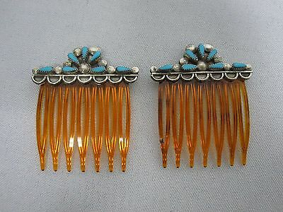 PAIR OF VINTAGE NATIVE AMERICAN ZUNI STERLING w TURQUOISE HAIR COMBS