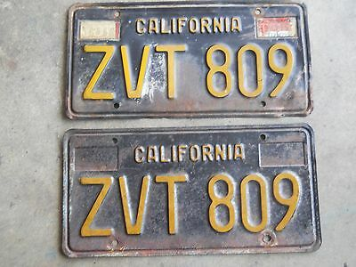 1963 Calif. Lic Plate Pair  good condition, paint is sun faded