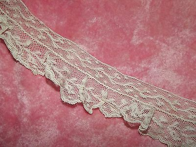 "71"" ANTIQUE Victorian Valenciennes Net Ruffled Edging Lace White Dainty 1 3/4"""