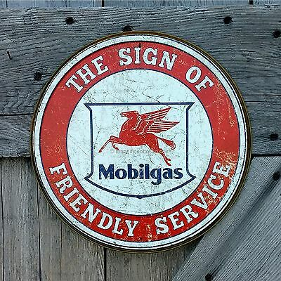 Mobilgas Mobil Pegasus Sign Of Friendly Service Embossed Tin Metal Sign Decor