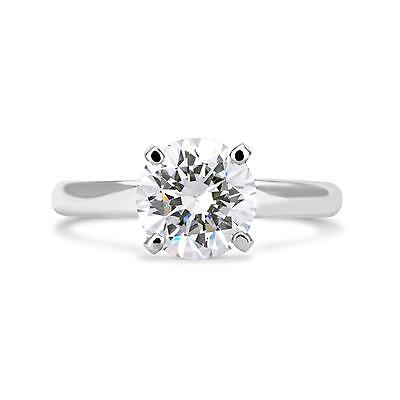 2.00 Ct Round Cut Vs1 Diamond Solitaire Engagement Ring 14K White Gold