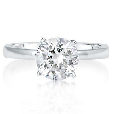 1 Ct Round Cut Vs2 Diamond Solitaire Engagement Ring 14K White Gold