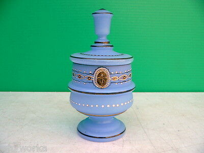 Antique French Enameled Blue Opaline Glass Covered Dresser Jar