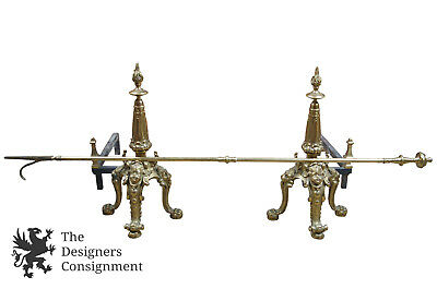 Antique Solid Brass French Empire Style Andirons Chenets & Poker Cherubs + Lions