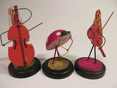 *3 Vintage Wood Bug Insect Band Orchestra Figures Violin Cello Germany Ladybug