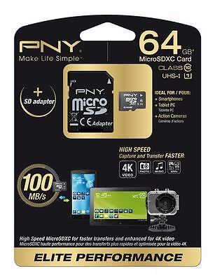 Pny Sdu64G10Eliper-Ef - Micro Sd Elit Performance 64Gb - Class 10 R 100Mb/s ...