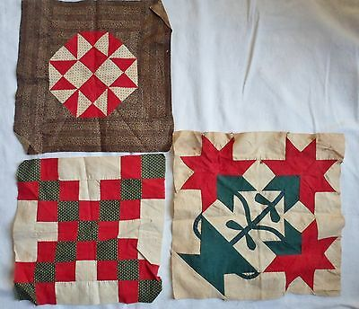 3 Antique Quilting Blocks Handsewn Cotton Sewing Quilt Top