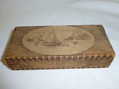 Antique Vintage Pyrography Wood TRINKET BOX Small Jewelry Boat Windmill WIZARD