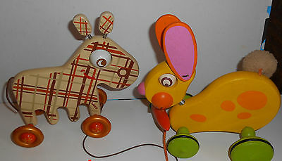 estate/2 vintage   colorful  adorable  French  50 s  pull toy By Djeco