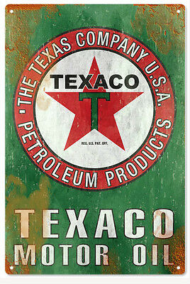 Texaco Motor Oil Sign   Gas And Oil Reproduction Metal Signs