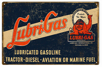 Lubri Gas Motor Oil And Gas Station Reproduction Metal Sign