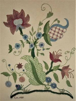 Jacobean Floral 14x11 Vintage Finished Kit Completed Wall Art Crewel Embroidery
