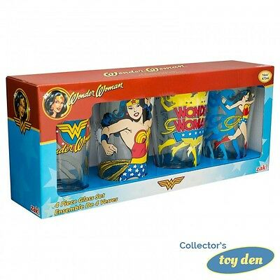 DC Comics - Wonder Woman Set of 4 pieces pint size 16oz. Glasses in Gift Box