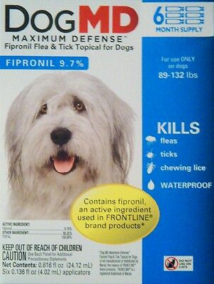 Dog Md Maximum Defense Fipronil Flea & Tick Topical For Dogs 89-132 Lbs 6 Ct