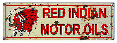 """Reproduction Red Indian Motor Oils Metal Sign 6""""x18"""""""