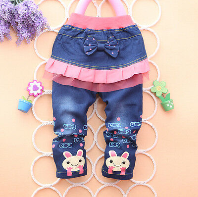 New Fashion Lovely Child Girls' Pink Little Rabbit Bow-Knot Cartoon Jeans  Pants