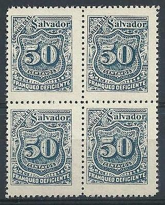 El Salvador 1897 Sc# J32 blue 50c Postage due block 4 MNH