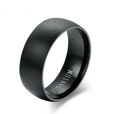 8MM Men's Black Titanium Steel Ring Engagement Wedding Anniversary Band Size8-11