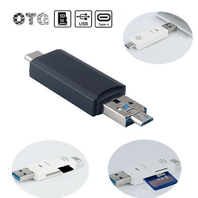 3 in 1 OTG Micro USB +Type-C SD/TF Memory Card Reader Adapter For Samsung Letv