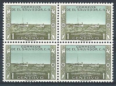 El Salvador 1954 Sc# 653 Fishing boats block 4 MNH