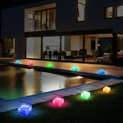 3x solar led glas w rfel bodenleuchten solarlampen. Black Bedroom Furniture Sets. Home Design Ideas