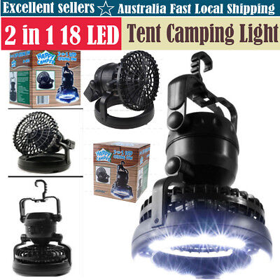 2 in 1 18 LED Tent Camping Light Night Lamp&Fan Weather Resistant Hand Held Hook