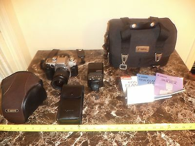BDD) Canon Camera ElannIIe,W/Canon Speedlite 380ex Cases,Instructions Sold As Is