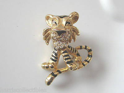 Vintage Tiger Brooch Pin Enamel Crystals Signed VS