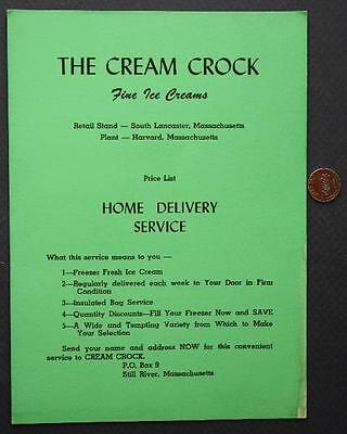 1950-60s Era South Lancaster-Harvard,Massachusetts Ice Cream Parlor menu-VINTAGE