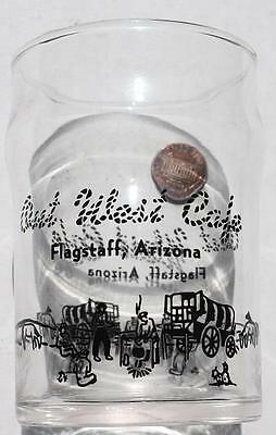 1960s Flagstaff,Arizona Out West Cafe Route 66 water glass-Old Chuckwagon Scene!