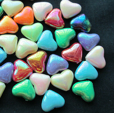 """100pcs Mixed Acrylic AB Love Heart Spacer Beads 15x12mm(5/8""""x1/2"""")"""