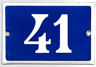 Old blue French house number 41 door gate plate plaque enamel metal sign steel