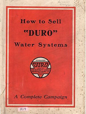 1919 Booklet How To Sell Duro Water Systems
