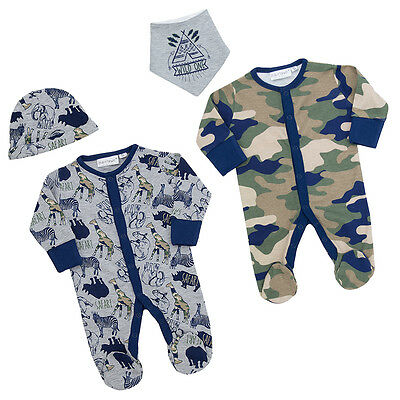 Babytown Baby Boys Safari Themed 2 Piece Sleepsuit with Scratch Mitts