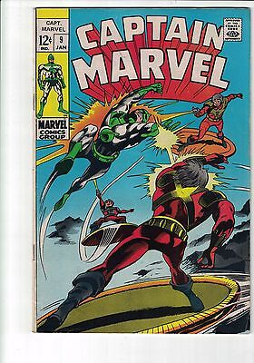 """Captain Marvel Vol 1 #9 January, 1969 cents copy """"Between Hammer and Anvil!"""""""
