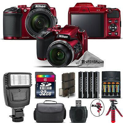 Nikon COOLPIX B500 RED Camera 40x Optical Zoom + Flash + Case - 32GB Kit Bundle