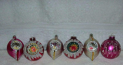 Vintage Indent Mercury Glass Christmas Ornaments Lot Of 6 Must See