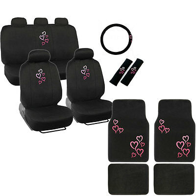 New Pink Heart Car Front Back Full Seat Covers Floor Mats Steering Wheel Cover